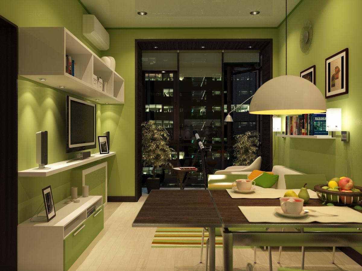 Дизайн кухни без окна совмещенной с гостиной.
