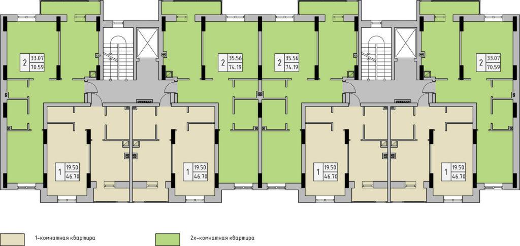 Чертёж планировка дома (типовой этаж)
