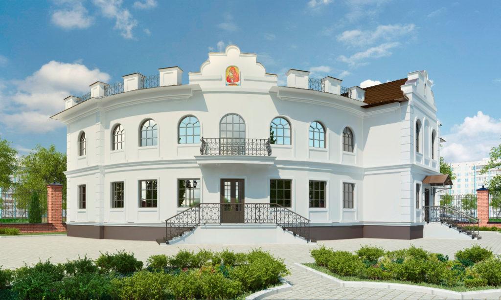Эскизный проект главный фасад здания епархиального управления