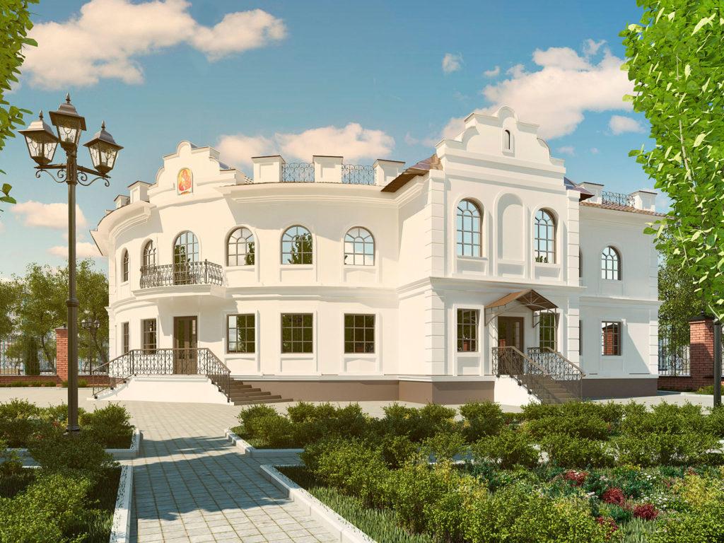 Эскизный проект фасада здания епархиального управления