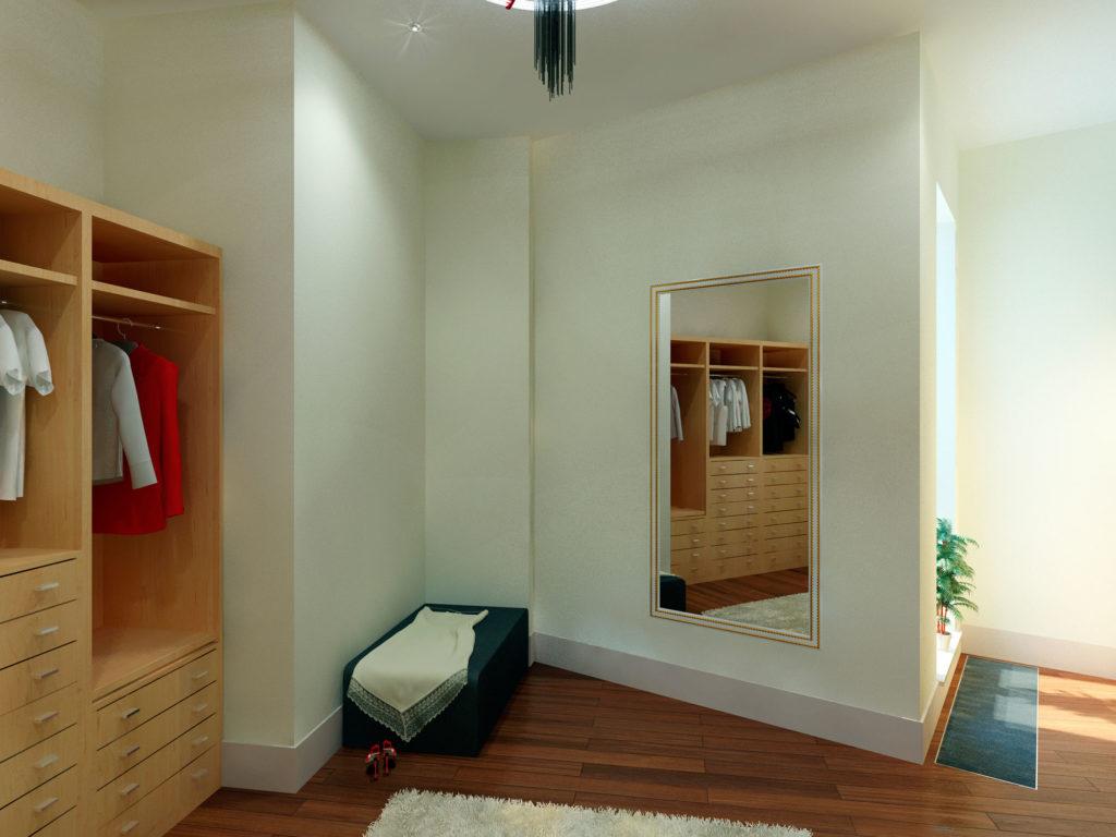Дизайн гардероба в большой спальне Казань