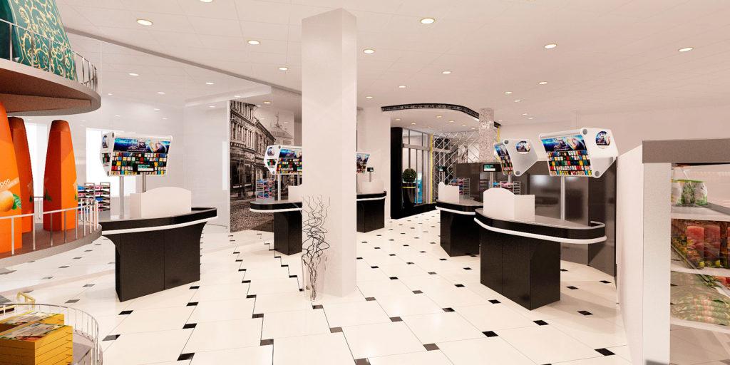 дизайн кассовой зоны магазина в Москве