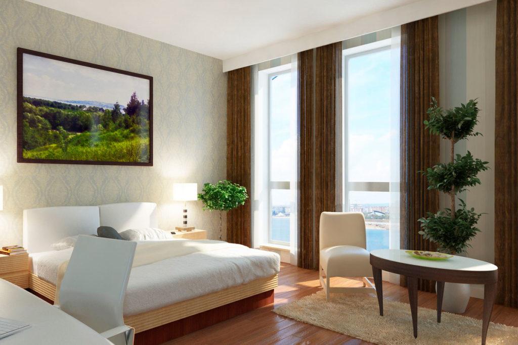 Вторая спальня с панорамным окном.