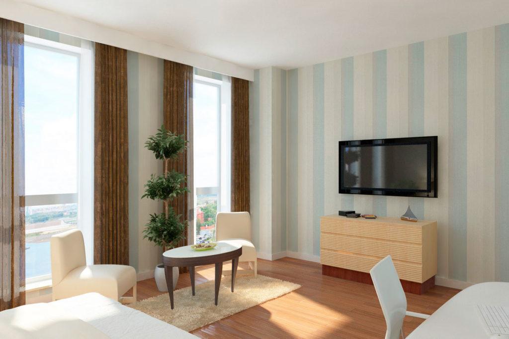Дизайн спальня с панорамным окном.
