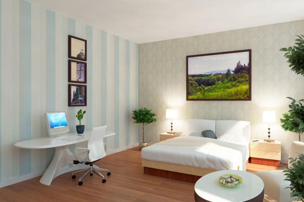 Дизайн спальни с рабочим столом Казань