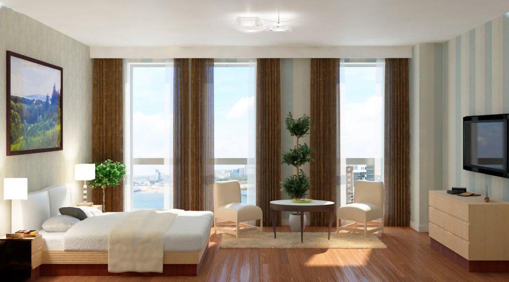 Дизайн спальни с панорамным окном Казань