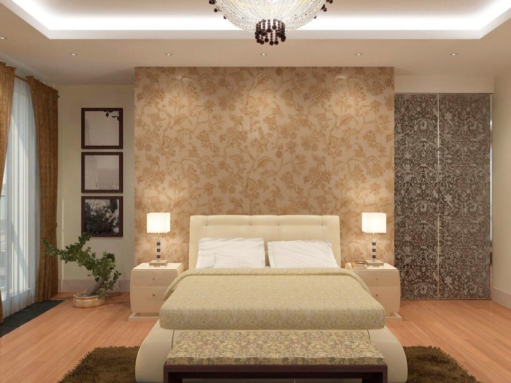 Дизайн большой спальни с панорамным окном Казань