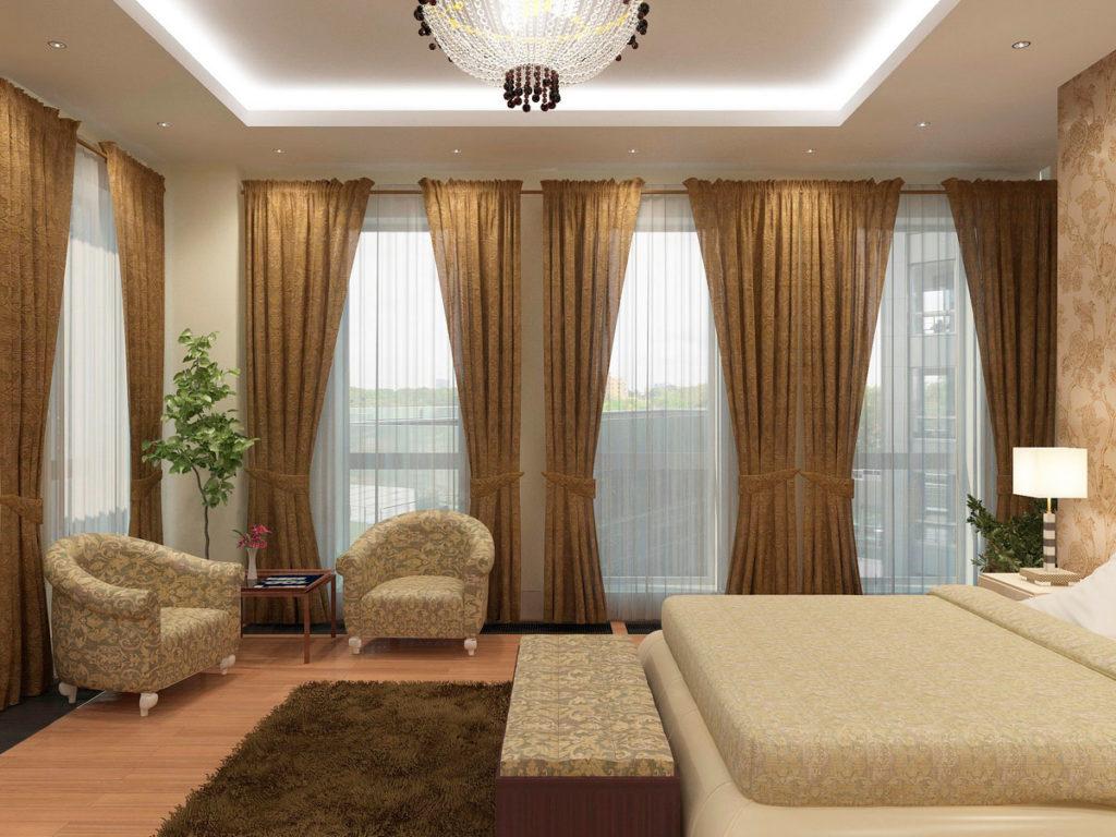 Большая спальня с панорамным окном Казань