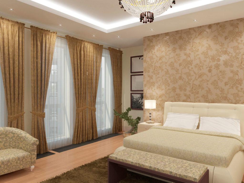 Зона кровати в большой спальне Казань