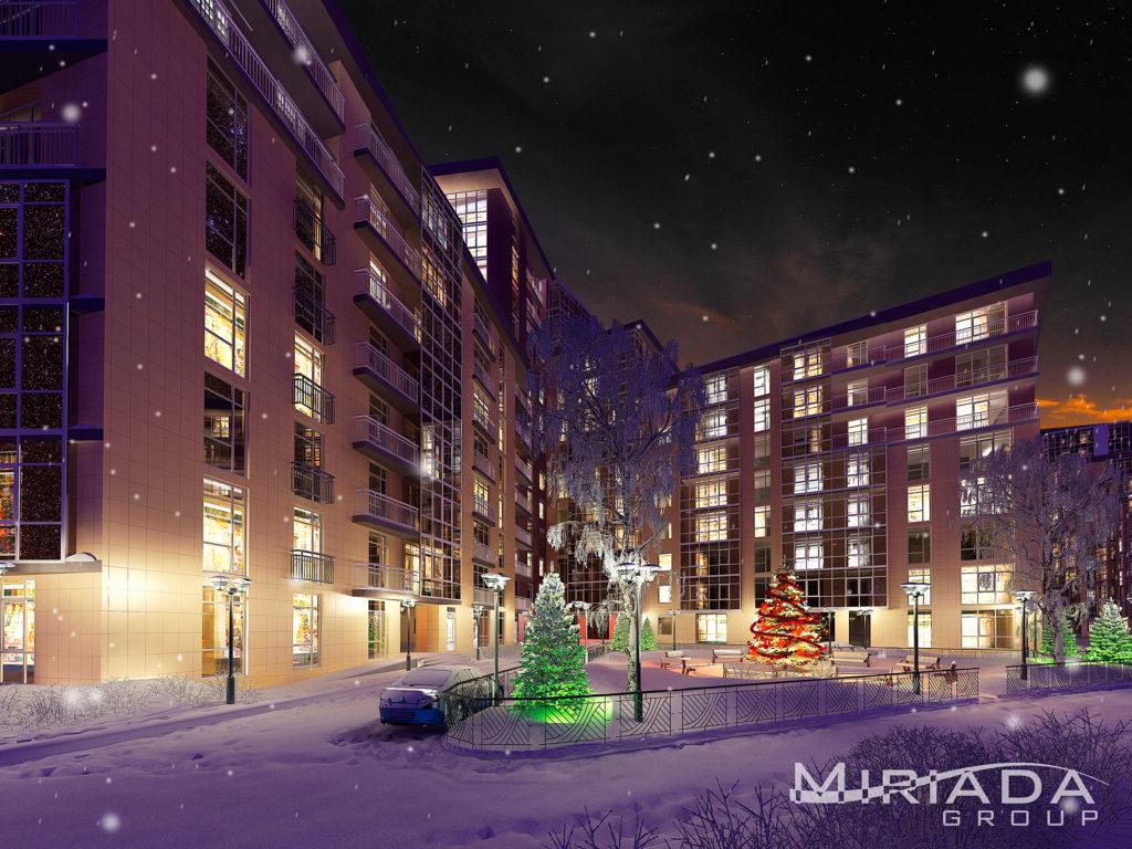 ночной рендер жилого комплекса