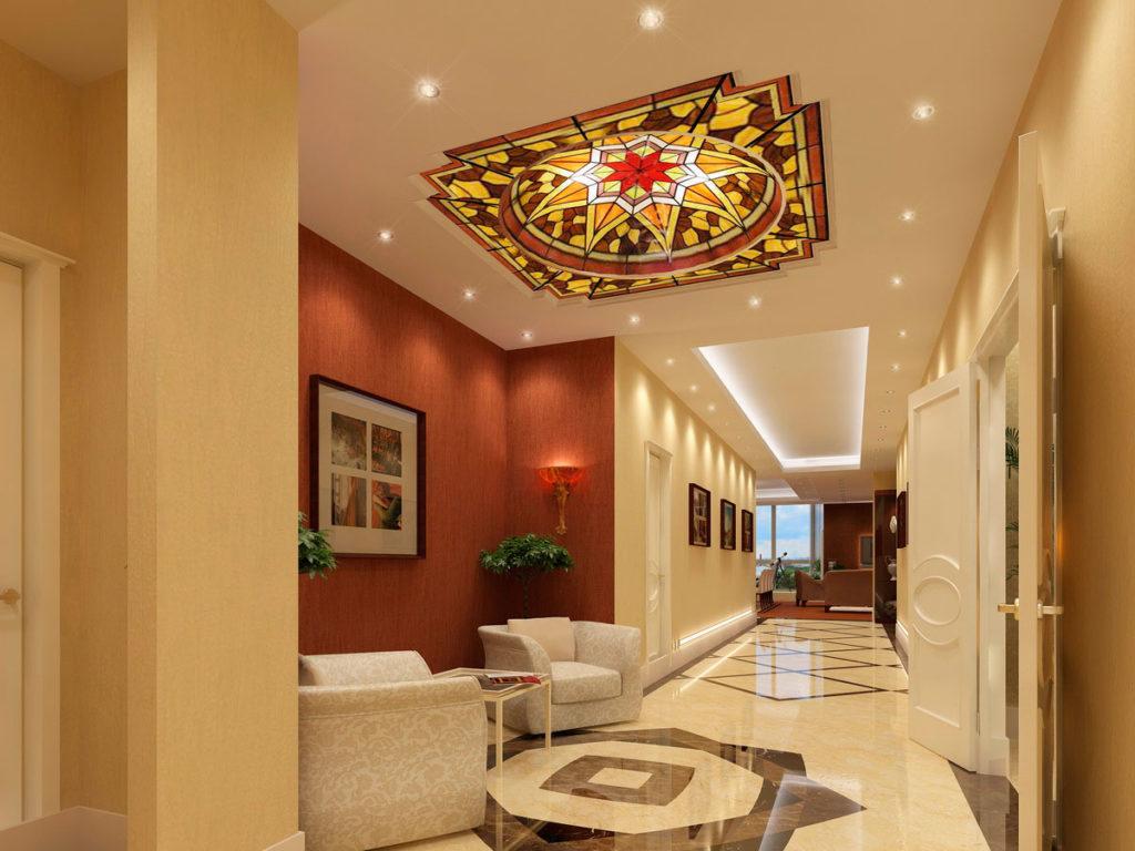 Дизайн потолка холла в квартире Казань