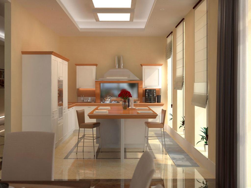 Дизайн кухни с островом Казань