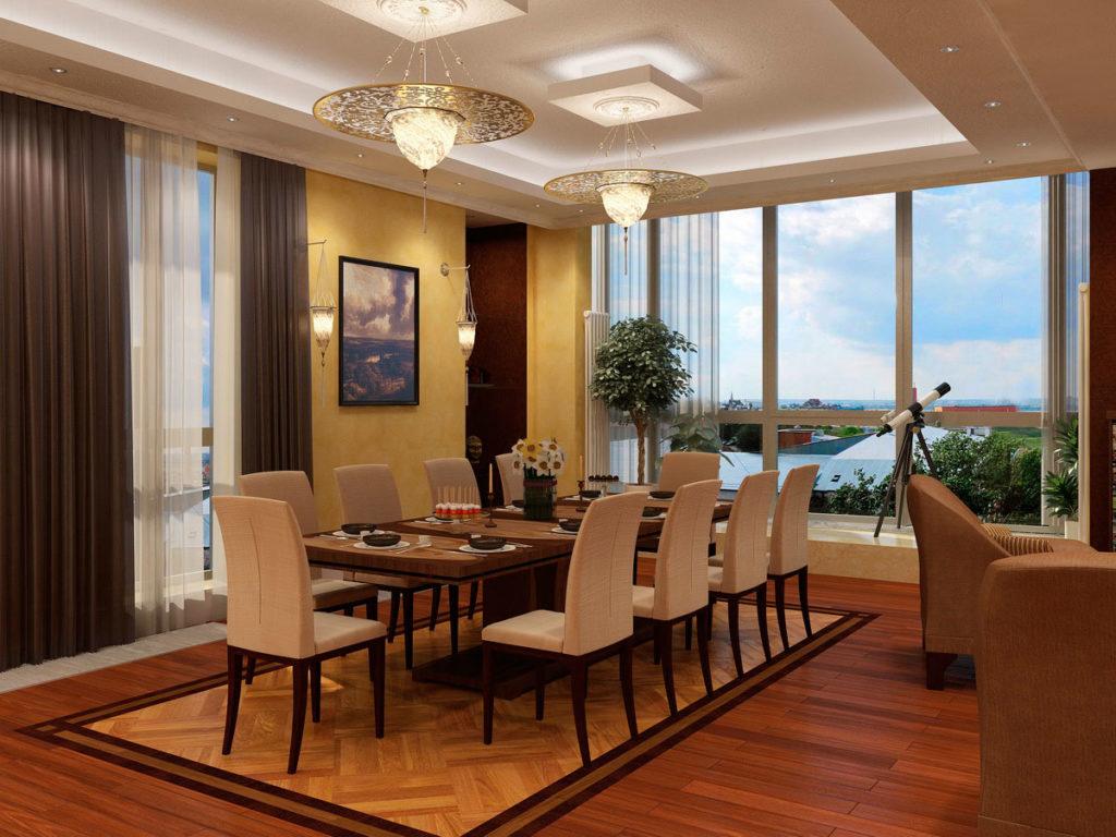 Дизайн столовой с панорамным окном Казань