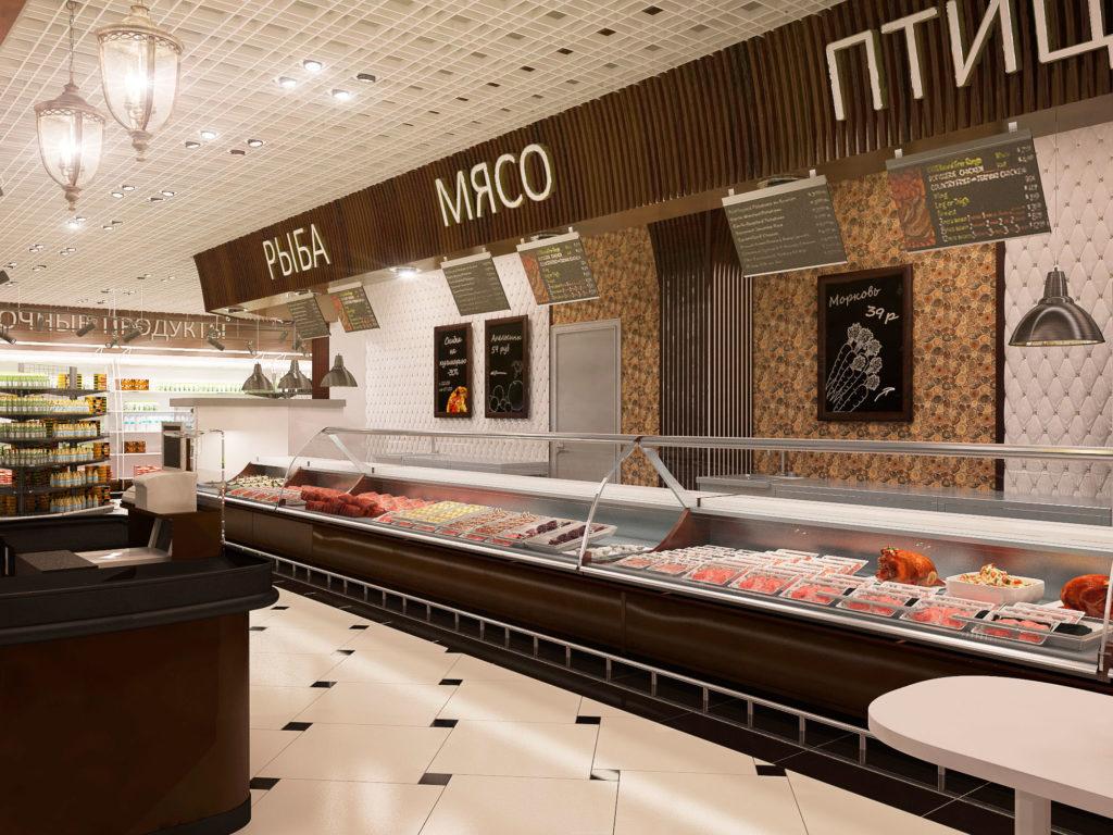 проект интерьера магазина продуктов