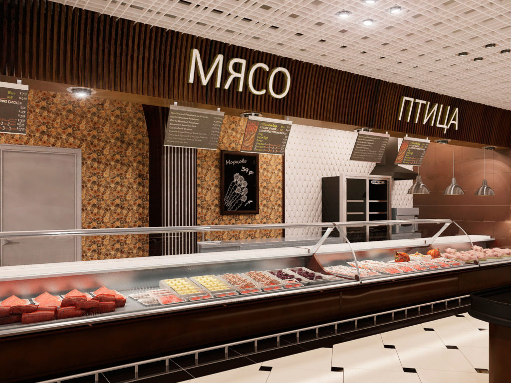 Дизайн прилавков магазина продуктов