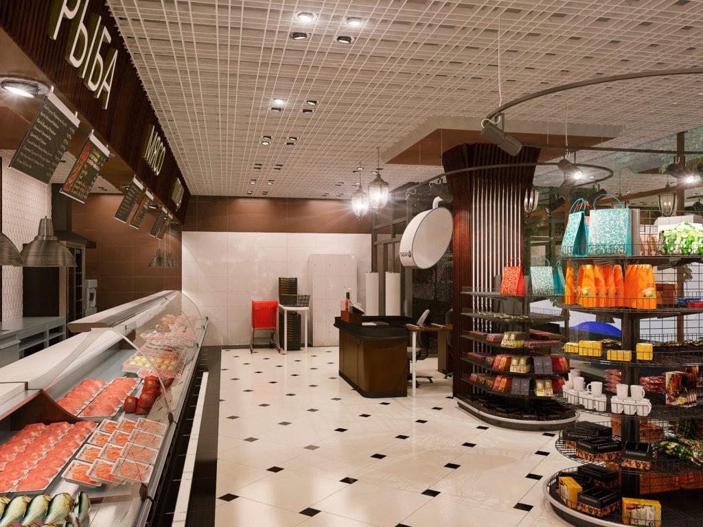 Дизайн торгового зала магазина продуктов