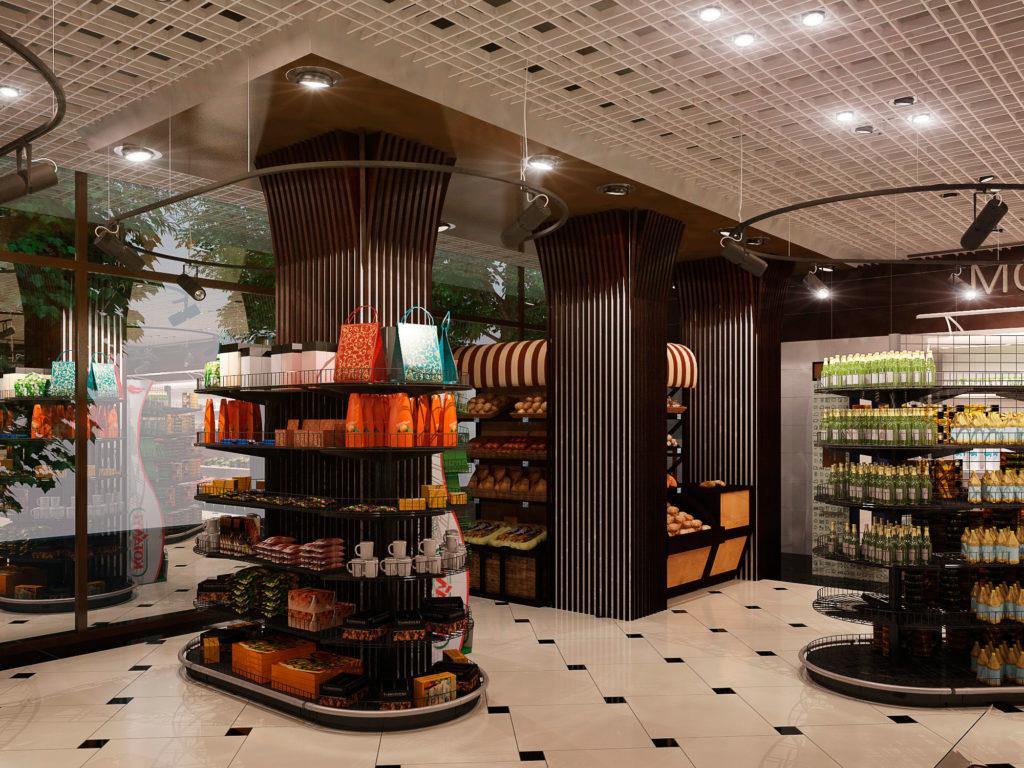 Дизайн колонн магазина продуктов