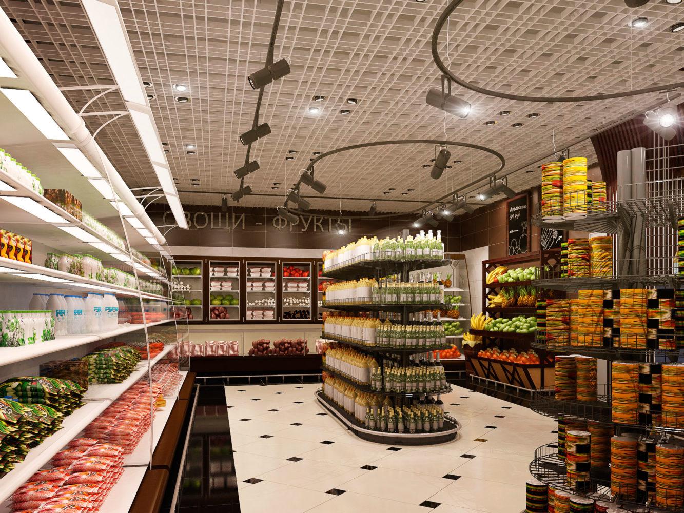 Дизайн продуктового магазина внутри фото накладывают