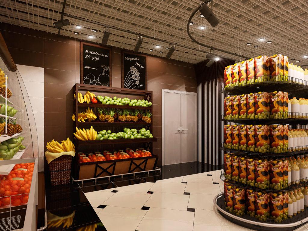 Дизайн полок для фруктов