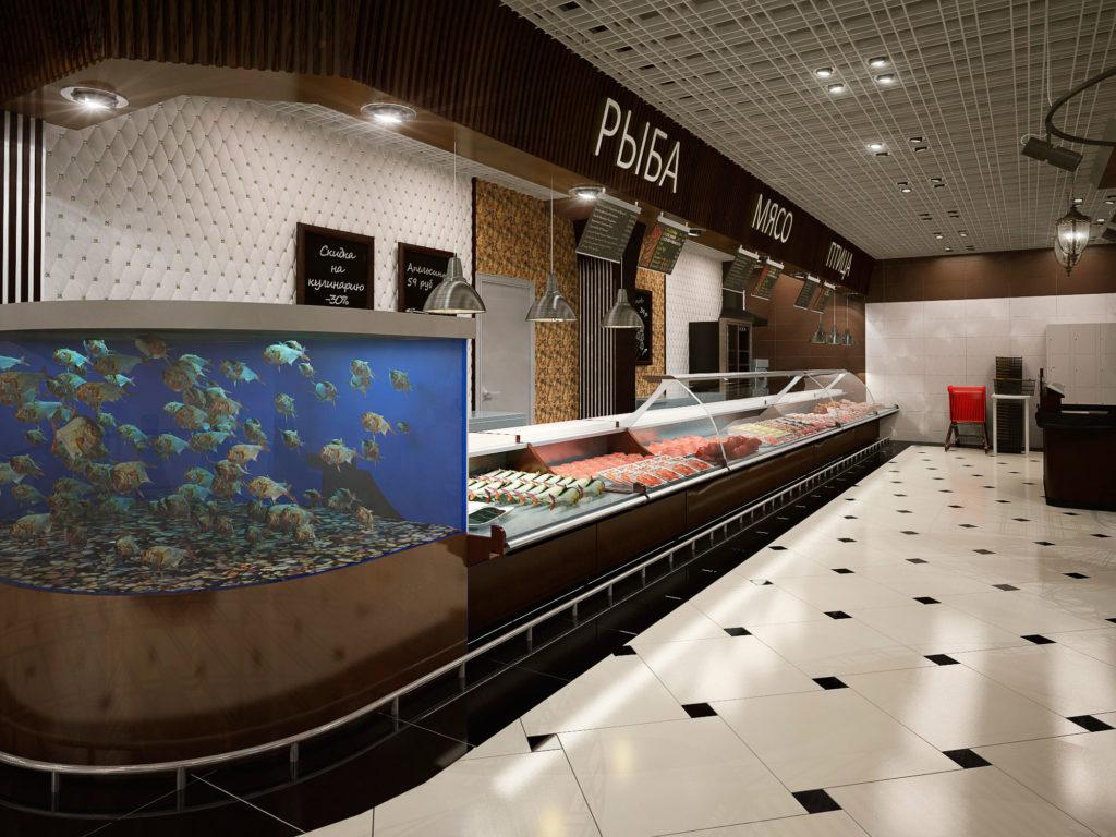 Дизайн рыбного отдела магазина продуктов