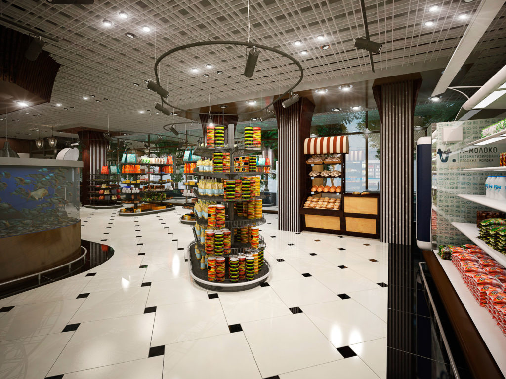 Торговый зал магазина продуктов