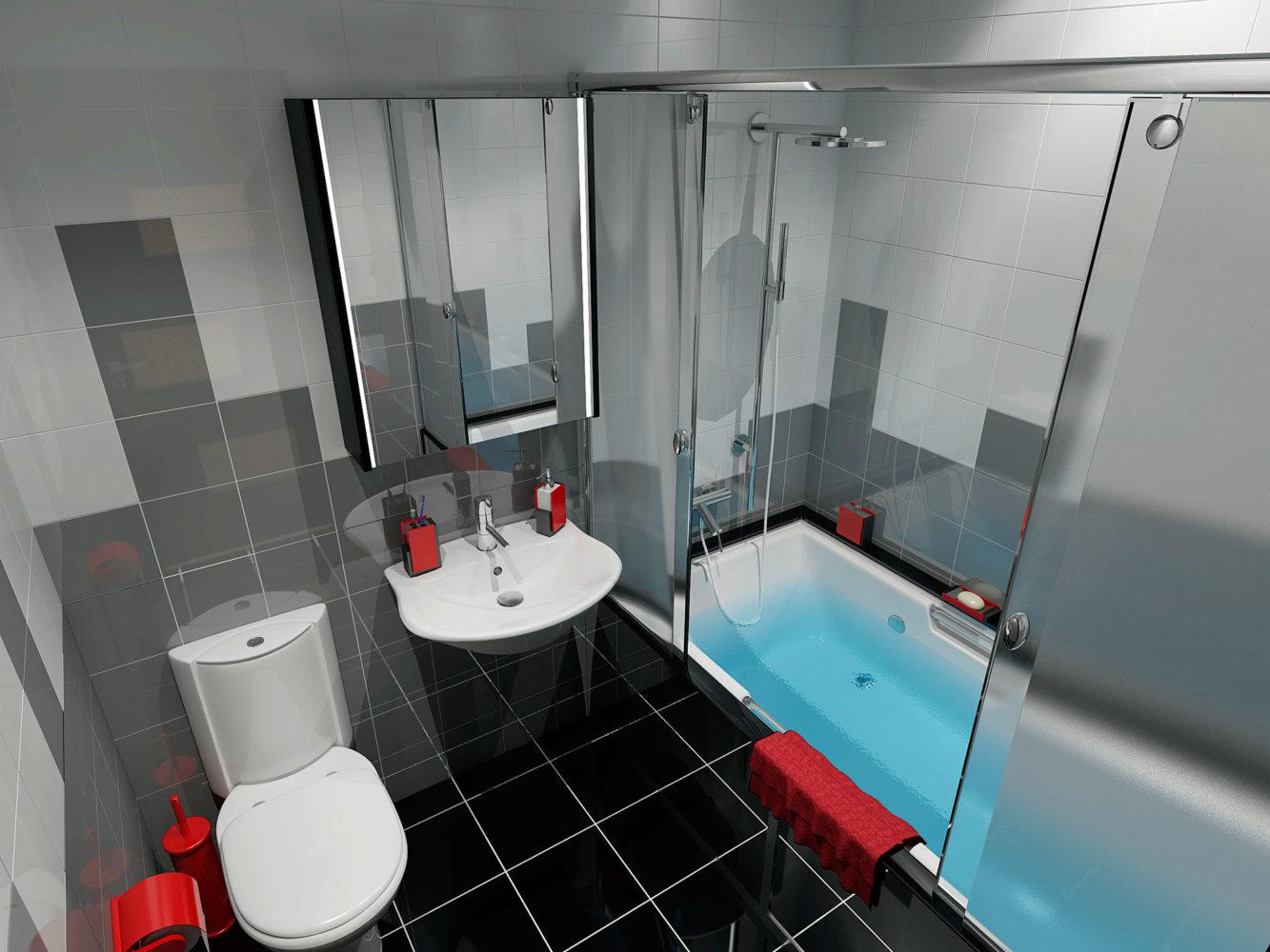 Дизайн в ванной в однокомнатной квартире