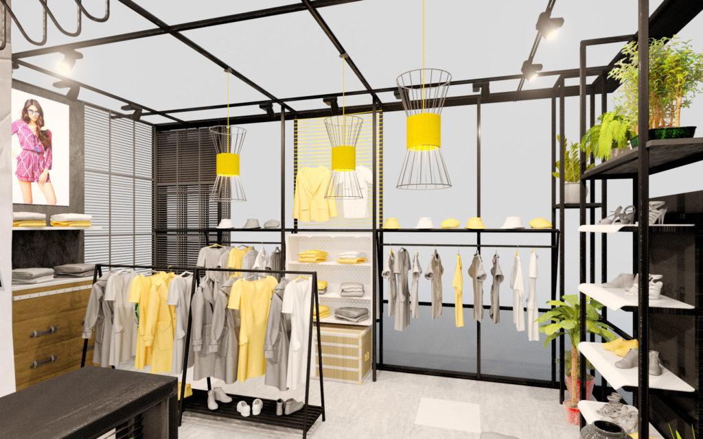 дизайн проект полок в магазине одежды