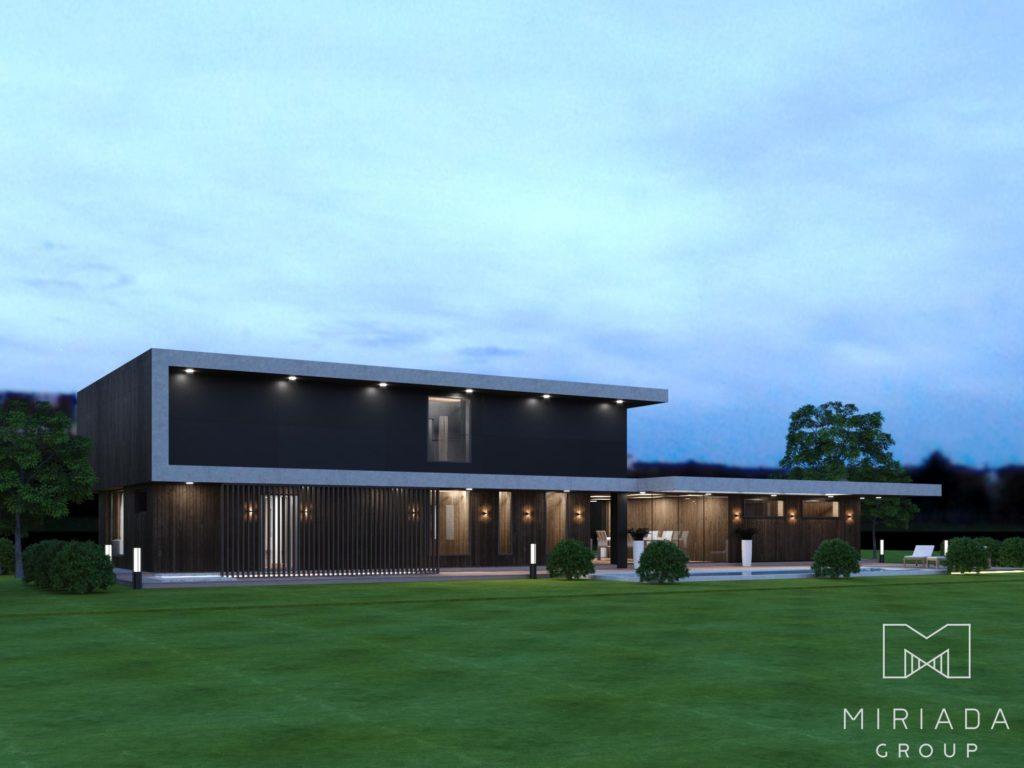 проект дома в стиле модерн с терассой